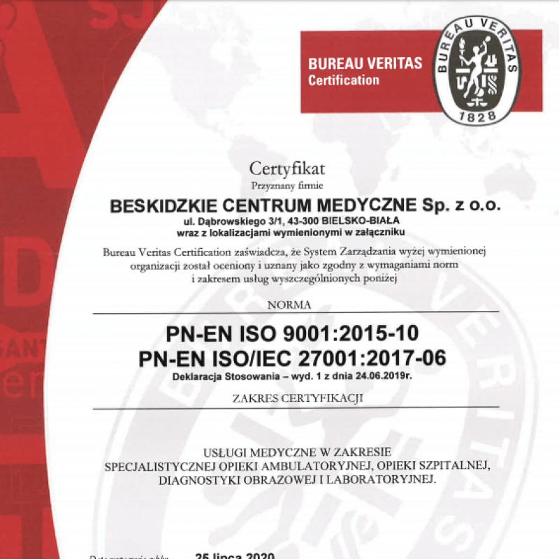 Beskidzkie Centrum Medyczne - certyfikat